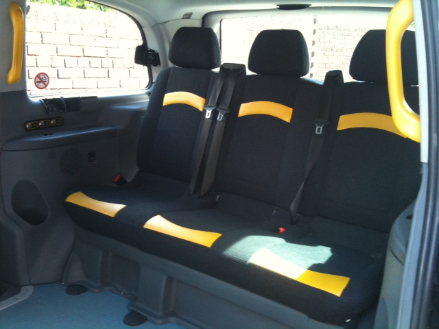 new black taxi cab interior